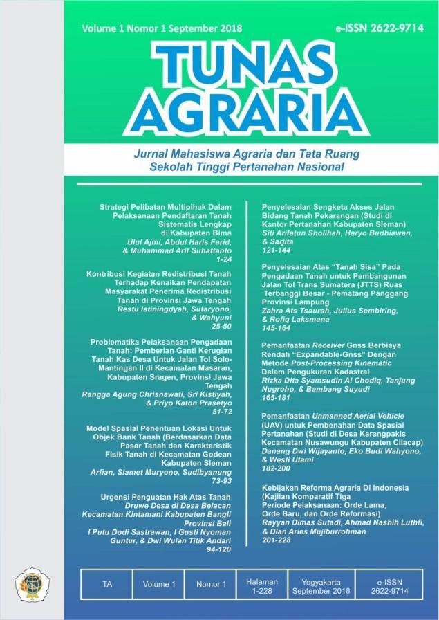 View Vol. 1 No. 1 (2018):  Sept-Tunas Agraria