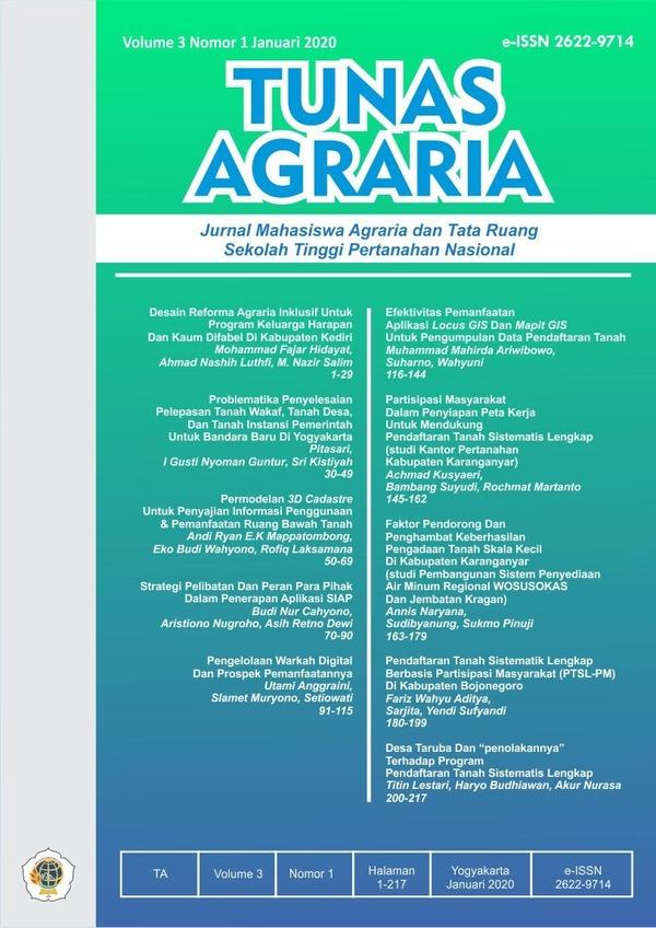 View Vol. 3 No. 1 (2020):  Jan-Tunas Agraria