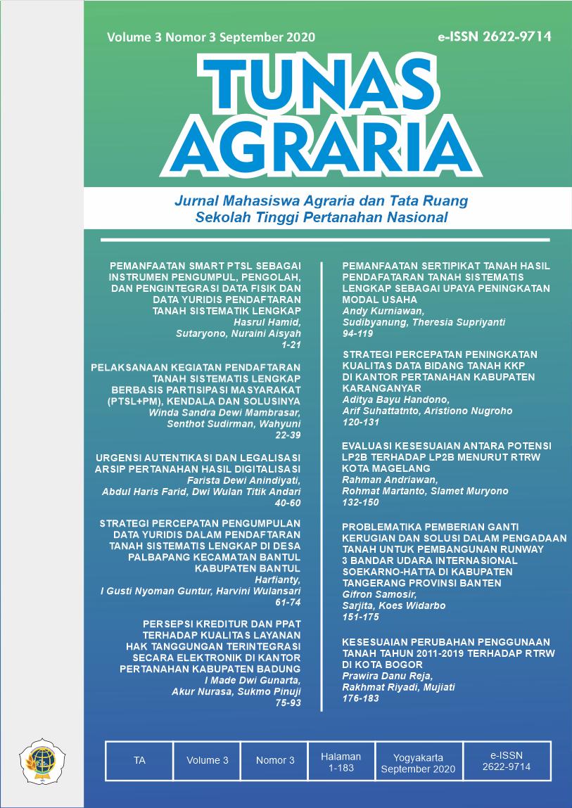 View Vol. 3 No. 3 (2020): Sept-Tunas Agraria